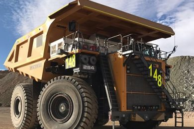 First South American Liebherr T 284 truck goes to high altitude Collahuasi