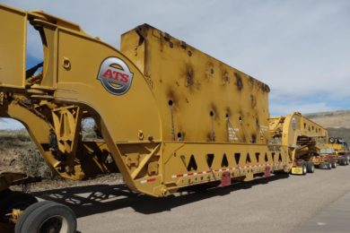 Cat 7495 electric rope shovel on its way to Kinross Gold's Paracatu mine