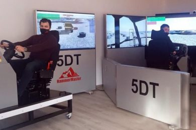 Hammer Rus & partner 5DT commission second mining truck sim at ERG's SSGPO iron ore mine training centre in Rudny