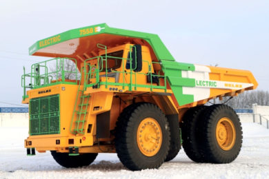BELAZ all electric 90 t 7558E prototype mining truck starts testing in Zhodino