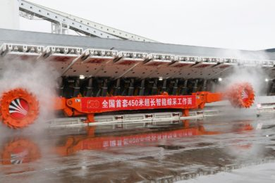 Shaanxi Coal holds trial operation ceremony of equipment for record 450 m longwall including Komatsu Joy shearer and AFC