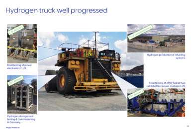 Anglo American says fuel cell-battery hybrid mining truck project at Mogalakewna entering final phase with testing start Q4 2021