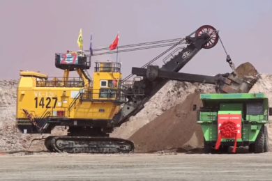 XEMC's retrofitted 120 t all battery electric truck gets to work at Huolinhe coal mine