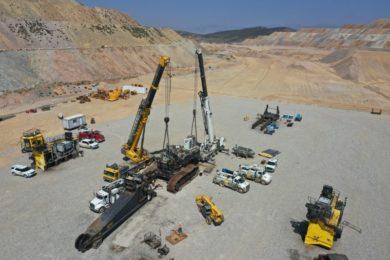 Komatsu Mining assembling 2650CX hybrid mining shovel at Robinson copper mine