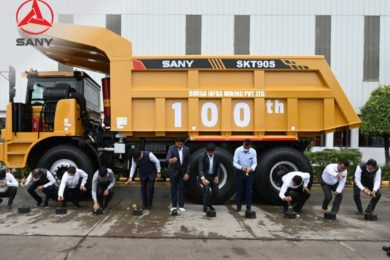 SANY India cements relationship with Indian coal mining group Durga Infra with handover of 100th dump truck